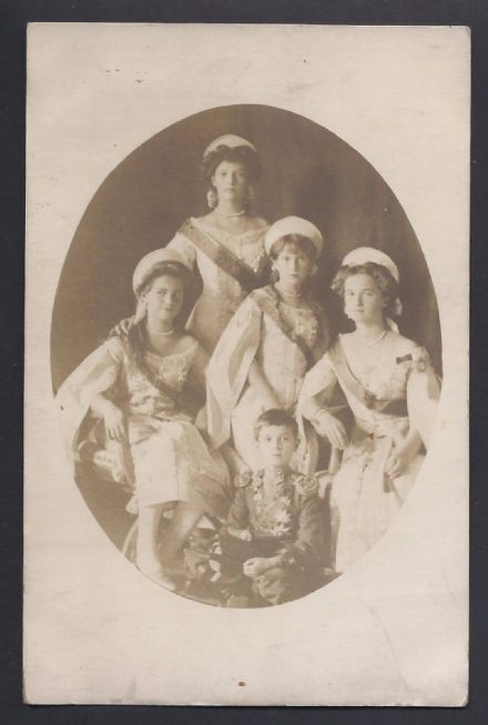 Antique Imperial Russian Photo Postcard of OTMA Children of Tsar Nicholas II